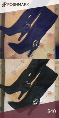 63197626b40b Black suede high-heeled Boots Size 8 1 2M Knee-length boots Originally