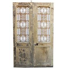 Pair of Antique French Double Doors 1 Victorian Windows, Victorian Door, Antique Doors, Old Doors, Cast Iron Gates, Italian Doors, Walnut Doors, Double Entry Doors, Timber Door