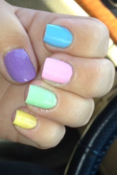 i just did this to my nails- wanna get this look for cheep , I used Sinful Colors for all except the yellow  (sinful colors run 1.99 ea, and I used NYC for the yellow which runs 89-96 cents at target) , the colors are (Tempest, Sugar Rush, Starfish, Innocent, and NYC's Lexington Yellow) - lb.