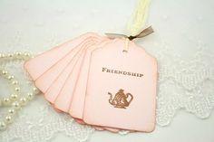 Vintage Pink Tea Party Favor Tags