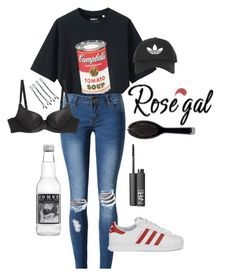 """polorize"" by spookyjimsfren ❤ liked on Polyvore featuring Uniqlo, WithChic, adidas Originals, L'Agent By Agent Provocateur, NARS Cosmetics, Topshop, GHD and BOBBY"
