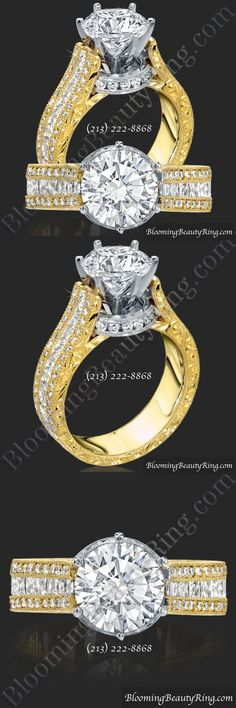 Hand-Made and Hand-Engraved Round Diamond Engagement Ring from BloomingBeautyRing.com  (213) 222-8868  #DiamondRing #EngagementRing #DiamondEngagementRing
