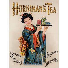 "Original Vintage American Poster ""Horniman's Tea "" Chinese Oriental ca. 1930"