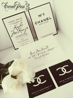 'Coco Chanel' Inspired Black & White Shower Invitations // French Glamour // Invitations by Coconut Press