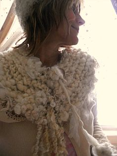 handknit warm winter scarf of curls and lace by beautifulplace