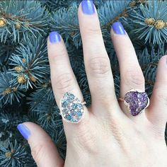 The evergreen, the ever purple and the ever blue... SHOP NOW at www.jenkdesignsny.com #rings #diamond #amethyst #bluetopaz #color #love #spring #jenk
