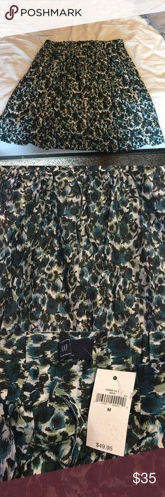 NWT Blue/green Gap skirt -medium New green/blue skirt with pull strings around waist GAP Skirts