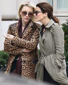 Cate Blanchett and Sandra Bullock on the set of ocean's 8 filming in New york city October 2016