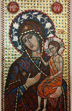 A mosaic outside the cathedral of the Mother of God of Kazan on the Red Square in Moscow.