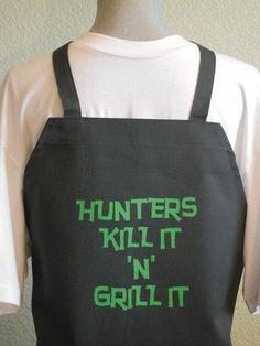 HUNTERS KILL IT N Grill it Bbq Apron For Men, Funny Aprons For Men, Grilling Aprons For men, Outdoor Sportsman,Novelty Aprons,Chefs Aprons