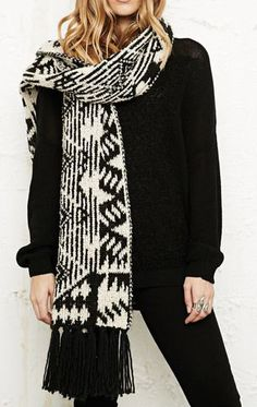 Urban Outfitters White Long Fluffy Knitted Scarf in White