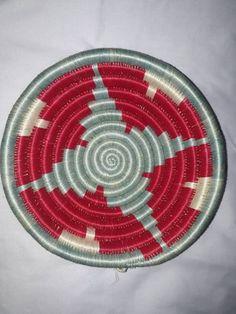 "African Wall basket/ baskets boho wall decor/ African baskets/ round basket/ 7"" basket/ interior design/ Rwanda baskets/ Coiled basket/ Afro"