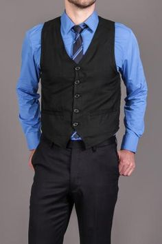 Shirt, Tie, Vest 3 Piece Set Black/Blue