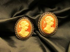 Lovely Cameo Style Clip On Earrings with Gold Tone Filigree Border by DresdenCreations, $15.00
