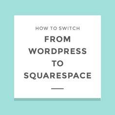 A lot of people say that switching from Wordpress to Squarespace is  difficult. It's something I used to believe too until I made the switch  myself. I'm delighted to tell you that I easily switched my website over  within a day and I didn't run into any problems!  Squarespace has an amazing library of tutorials that help you figure out  how to do all things Squarespace-related, but a lot of people have been  asking me for tips of how they can set up their Squarespace website or  transfer…
