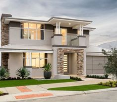 The Avalon Display Home Woodvale, Perth The Avalon © Ben Trager Homes Minimal House Design, Duplex House Design, Dream Home Design, Two Story House Design, House Front Design, Two Storey House, Contemporary House Plans, Fancy Houses, Storey Homes