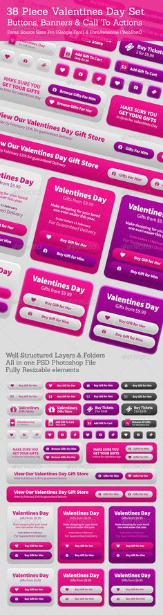 38 Valentines Buttons, Banners & Call To Actions. Download: http://graphicriver.net/item/38-valentines-buttons-banners-call-to-actions/6626796?ref=ksioks