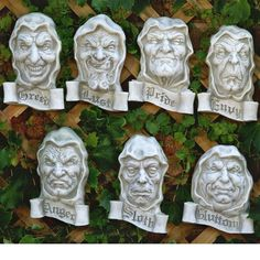 Design Toscano Seven Cardinal Sins Plaques in Antique Stone Outdoor Wall Art, Outdoor Walls, Wall Sculptures, Lion Sculpture, Garden Sculptures, Medieval Gothic, Late Middle Ages, 7 Deadly Sins, Outdoor Halloween