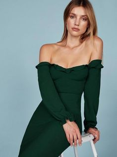 Emerald Prue Dress by Reformation. Love this soft yet sexy off the shoulder dress. It has a ruffle edged bodice and a center back zipper. Made by Reformation which is an ethical fashion brand that makes their garments from recycled vintage fabrics. Good for stylish, conscious shopping!