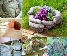 DIY cement stone Hand Planters