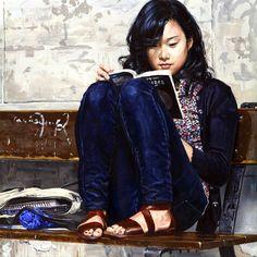 Chinese girl reading, 2008. Michele del Campo (1976-) Italian painter (http://micheledelcampo.com).