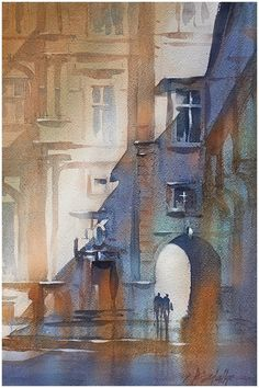 Facade Study in Warm and Cool thomas w schaller - watercolor