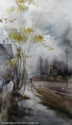 Autumn Rains - watercolors, paper