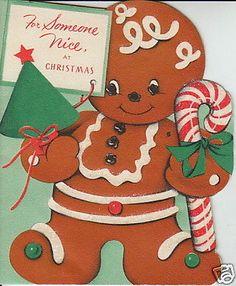 6 Vintage Greeting Cards CHRISTMAS GINGERBREAD Men House