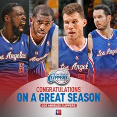 Congratulations to the Los Angeles Clippers! Although their season was cut short, they put on an incredible show this year. I can't wait to see Lob City back in action, and I have a feeling it will be bigger and better than ever.