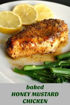 Baked honey mustard chicken breast with a touch of lemon, an absolutely delicious, low-carb and healthy meal for two. Serve it with broccoli spears or any other veggies. There is hardly any preparation needed, and you get some moist chicken breasts cooked in a super tasty honey mustard marinade. #chickenrecipes #honeymustardchicken, #bakedchicken, #healthyrecipes #healthyliving #lowcarb #highprotein #highproteinrecipes #highproteinrecipes