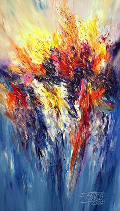 """Saatchi Art Artist Peter Nottrott; Large abstract colorful Painting, """"Phenomenal Day L 1"""" #art"""