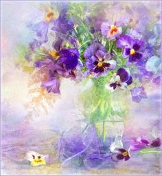 Pansies - Lines of my hand - Photo - still life, digital processing under painting Art Floral, Watercolour Painting, Watercolor Flowers, Watercolors, Hand Photo, Wow Art, Pansies, Zinnias, Beautiful Paintings