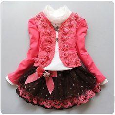 2014 nueva chica de moda 3 pc conjunto de ropa de punto rosa flor suit+lace shirt+bow dot falda tutu vestido de los niños trajes, de alta calidad