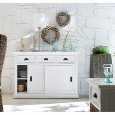 Rustic White Sideboard With Sliding Doors White Buffet, White Sideboard, Buffet Set, Shabby Chic Living Room, Shabby Chic Homes, Shabby Chic Kitchen Shelves, Discount Interior Doors, Chic Bathrooms, Rustic White