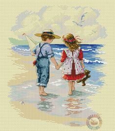 Gallery.ru / Фото #1 - Holding hands - denise10 Cross Stitch Sea, Cross Stitch For Kids, Cross Stitch Cards, Beaded Cross Stitch, Cross Stitch Flowers, Cross Stitching, Christmas Embroidery Patterns, Embroidery Art, Cross Stitch Embroidery