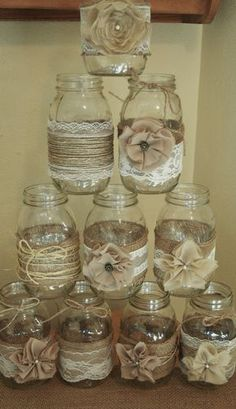 Set of 10 Mason Jar Sleeves, Burlap Wedding Decorations, Rustic Wedding Centerpieces, Burlap and Lace Wedding Jars