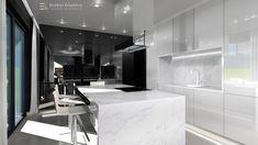Minimál stílusú konyha, elegáns fényes felületekkel, kontrasztos, fekete - fehér színvilággal.  minimal#fekete#feher#elegans#letisztult#fenyesfront#kopult#erdelyikrisztina#design#3d Design 3d, Minimalism, Kitchen Island, Modern, Home Decor, Bedrooms, Island Kitchen, Trendy Tree, Decoration Home