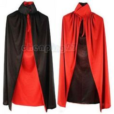 Hot Halloween Custome Black Red Reversible Dress Goth Vampire Demon Cloak kids  Men party clothing Festiver wear decoration  #Affiliate
