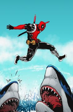 syngeist: #Deadpool playing hopscotch with sharks. Deadpool is the property of #Marvel