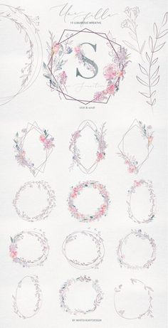Une Fille Watercolor Artistic Set by whiteheartdesign on Creative Market # . - Une Fille Watercolor Artistic Set by whiteheartdesign on Creative Market U - Motif Floral, Floral Design, Design Art, Creative Design, Design Ideas, Graphic Design, Flower Patterns, Flower Designs, Hirsch Tattoo