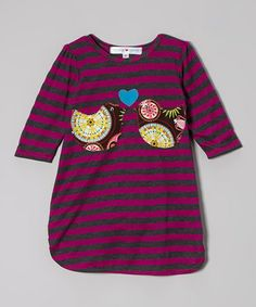 Look what I found on #zulily! Purple & Charcoal Stripe Kissing Birdies Dress - Toddler & Girls by mini scraps #zulilyfinds