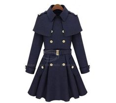 Fashionable Double-Breasted Cape Style Coat For Women - Sammydress.com