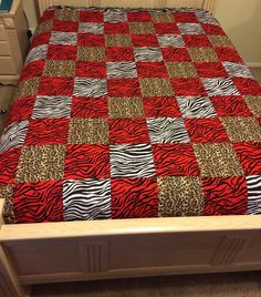Zebra and Cheetah Print Quilt by LoveErinMarie on Etsy