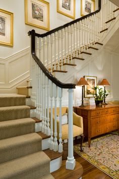 Bright white spindles and face of stairs.  BINGO    Staircase Photos Side Hall Colonial Design Ideas, Pictures, Remodel, and Decor