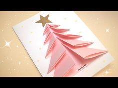 17 Ideas For Craft Christmas Cards Navidad Diy Christmas Videos, Christmas Card Crafts, Christmas Origami, Handmade Christmas Decorations, Diy Christmas Tree, Christmas Greeting Cards, Christmas Greetings, Homemade Decorations, Pink Christmas