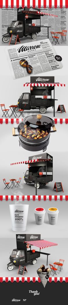 ✔ ✔ Food Inspiration - I designed a visual identity and a small food truck for roasted chestn. ✔ ✔ Food Inspiration - I designed a visual identity and a small food truck for roasted chestnut. Coffee Carts, Coffee Truck, Coffee Shop, Food Trucks, Food Cart Design, Food Truck Design, Bike Food, Mobile Cafe, Food Kiosk