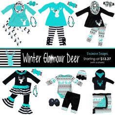Winter Glamour Deer outfits - many NEW exclusive designs ready to pre-order now, available in Newborn to size 13/14! Matching Mommy & Me hoodies, pajamas, boy outfits and more - shop now and save...
