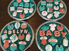 Baby shower cookies, teal, coral and white.