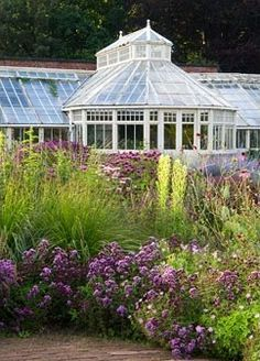 Glasshouse and perennial planting in The Walled Garden at Scampston Hall, Yorkshire, designed by Piet Oudolf.