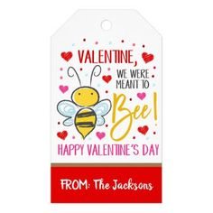 Valentine Bee Gift Tag Bee Gifts, The Jacksons, Custom Ribbon, Personalized Gift Tags, Bee Happy, Happy Valentines Day, Keep It Cleaner, Holiday Cards, Crafts